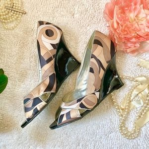 Fabric and Patent Leather Peep-toe Wedge